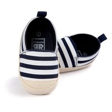 Купить с кэшбэком Blue Striped Baby Boy Shoes Lovely Infant First Walkers Good Soft Sole Toddler Baby Shoes