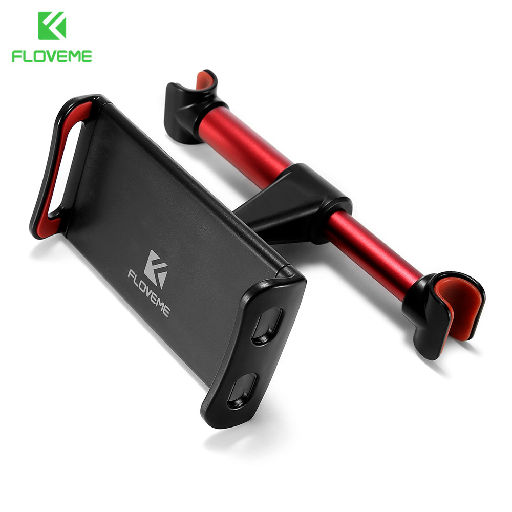 FLOVEME 4-11 inch Alloy Car Phone Holder Back Seat Tablet Bracket 3 in 1 Combo 360 Degree Car Holder For iPhone X 8 iPad mi Pad