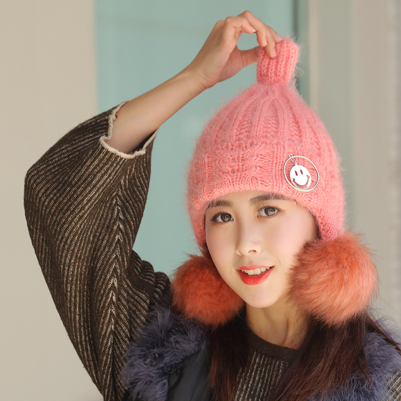 466e564c619 Cute Winter Hat With Smiley Face Pendant For Women Girls Thickening Knit  Beanie Earmuff Warm Hat Outdoor Pom Poms Beanie Cap on Aliexpress.com