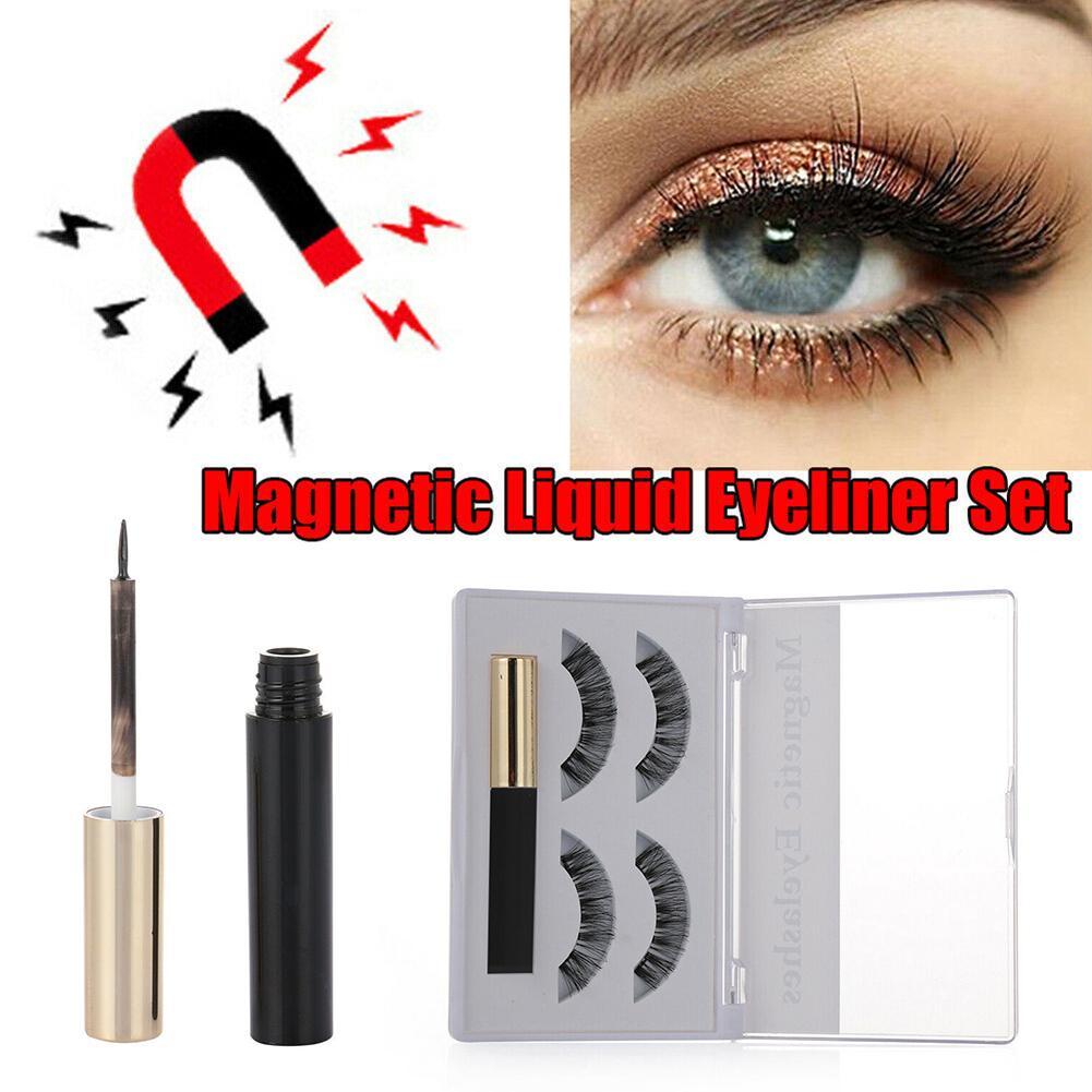 Magnetic False Eyelashes With Liquid Eyeliner Set Including 2 Pairs Eye Makeup Tool