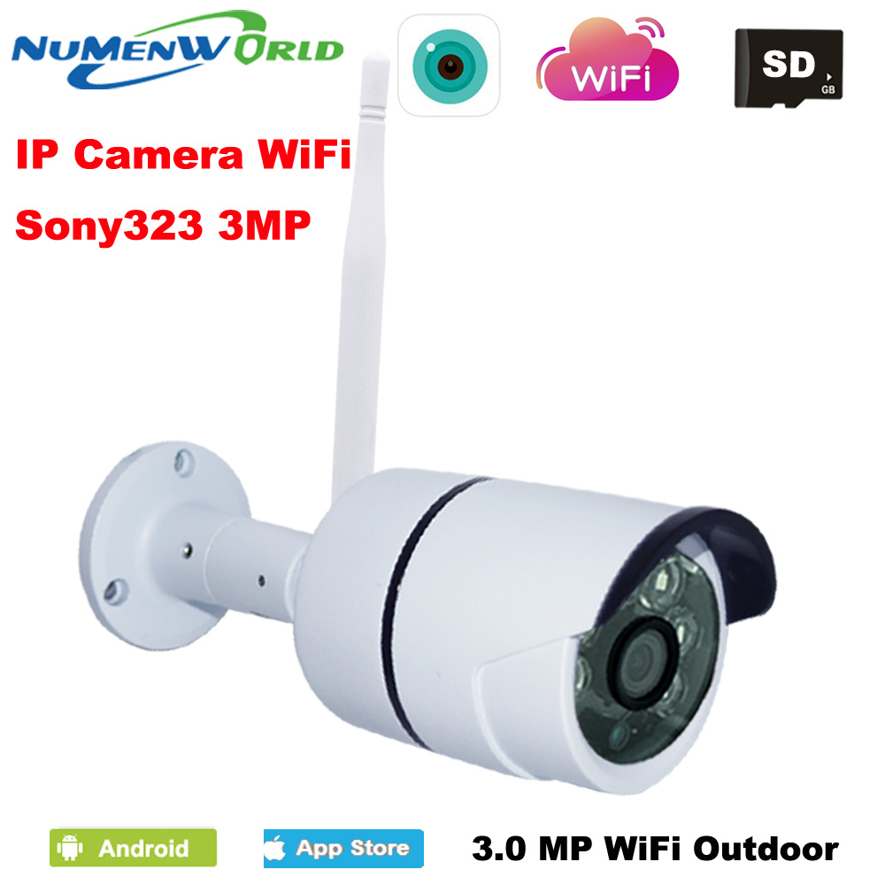 WIFI IP Camera Outdoor 3MP Night Vision ONVIF H.264/H.265 Wireless CCTV Camera Remote View Via Smart Phone support SD memoryWIFI IP Camera Outdoor 3MP Night Vision ONVIF H.264/H.265 Wireless CCTV Camera Remote View Via Smart Phone support SD memory