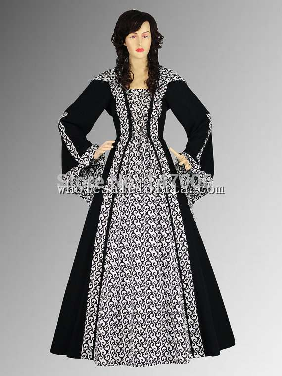 Black and White 16/17th Century Medieval Renaissance Maiden Dress Gown with Hood