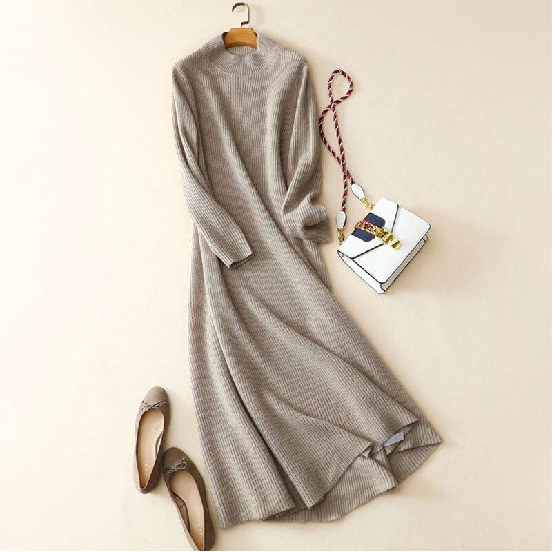 Kashana зимнее платье Новые платья с длинным рукавом 100 из чистого кашемира женское платье Высокое качество стильная женская обувь Для женщин з