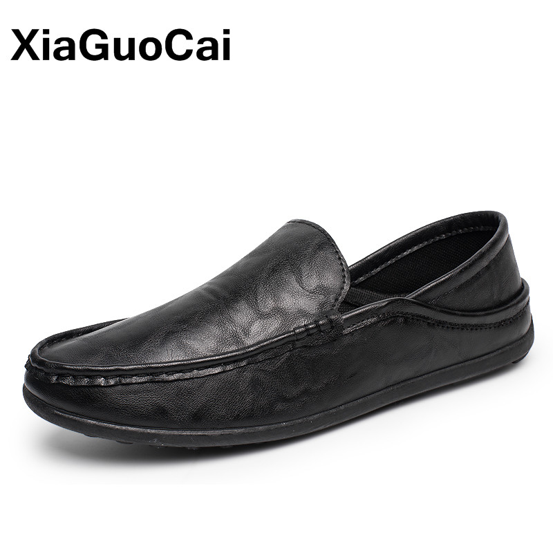 Spring Autumn Men Loafers PU Leather Driving Boat Shoes Slip-On Casual Doug Shoes Moccasin Breathable Soft Male Flats Dropship mycolen brand new fashion autumn spring men driving shoes loafers leather boat shoes breathable male casual flats loafers