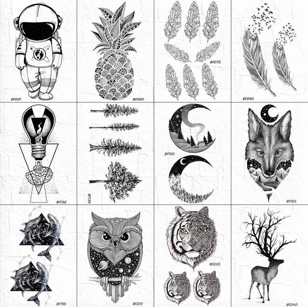 3d черный эскиз татуировки наклейки для женщин Little Moon дерево татуировки временные