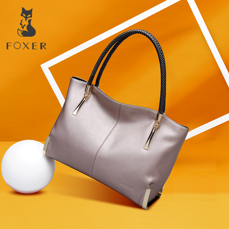 FOXER Brand Women's Cow Leather Handbags Female Shoulder bag designer Luxury Lady Tote Large Capacity Zipper Handbag for Women aelicy women s leather handbags female shoulder bag luxury designer lady tote large capacity zipper handbag for women bolsas