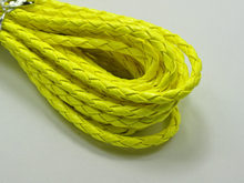 16.4 Feets Neon Yellow Braided Leatherette Jewelry Cord 4mm(China)