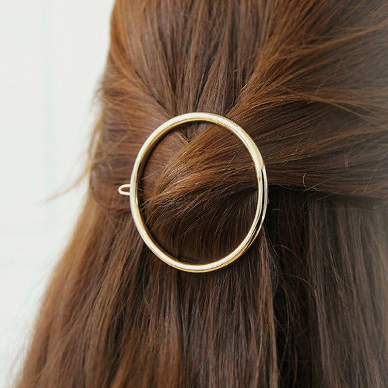 Fashion Geometric Mental Hairpins for Girls Triangle Moon Hair Pin Lip Round Star Hair Clip for Women Barrettes Hair Accessories 2