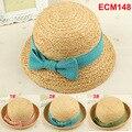 Garantía de calidad al por menor Envío Libre Precioso Nudo baby girls moda japón rafia sombreros de paja de la playa caps niño sombreros de sol al por mayor