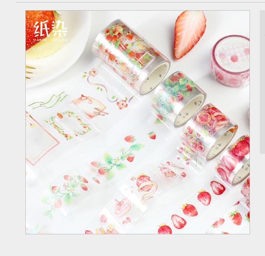 Fresh Strawberry Fruit Dessert Bread Vine Branch Lace Rain PET Washi Tape DIY Planner Scrapbooking Masking Tape Escolar