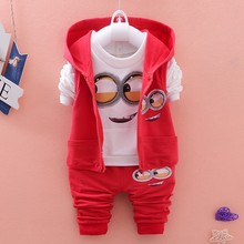 Boys Clothes Set Cartoon Minions Girls Hooded Jacket shirts Pants Suit Baby Kids Children Clothing Bebes Tracksuit