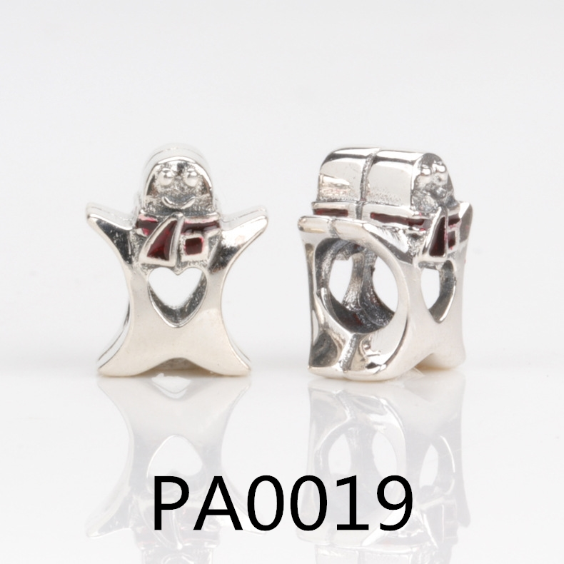 PA silver spring light pink Magnolia flower clip or bead charms Fits European Charm Bracelets