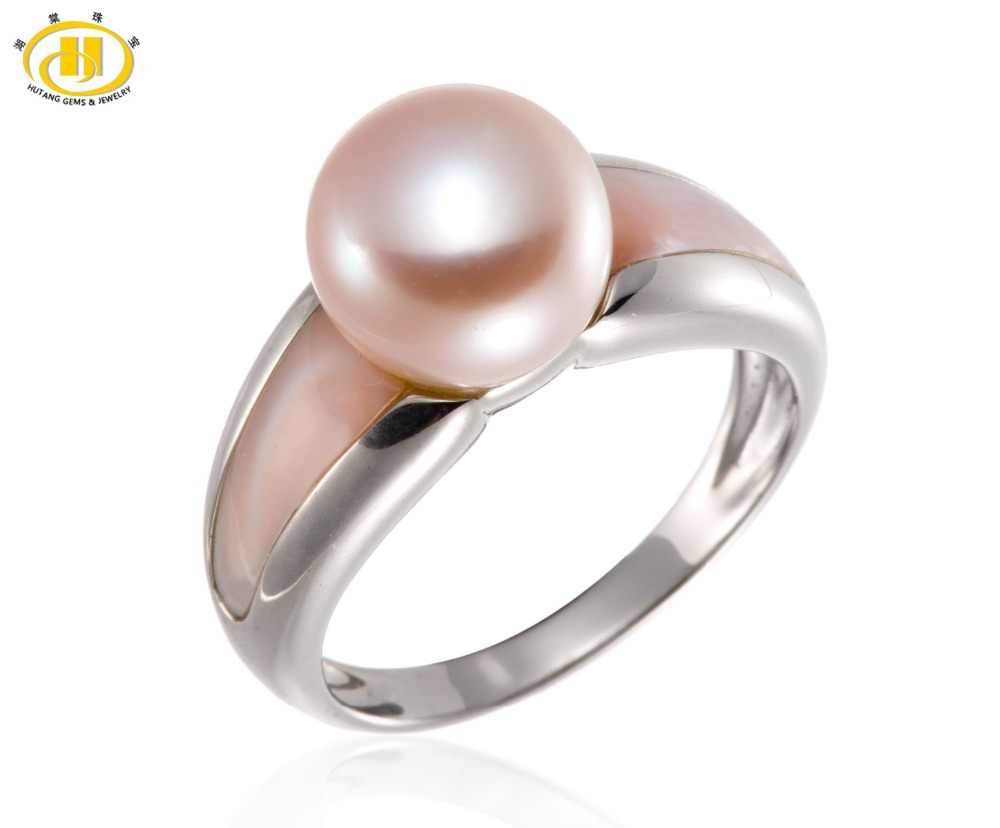 Hutang Pink Freshwater Cultured Pearl and Shell Solid 925 Sterling Silver Ring Jewelry (9-9.5 mm) jyx 9 5mm pink genuine freshwater pearl ring shiny crystal in 925 sterling silver jewerly