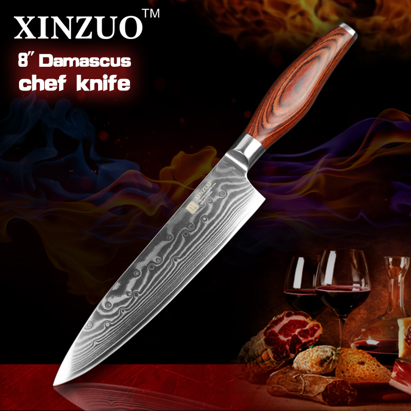 XINZUO chef font b knife b font Japanese Damascus kitchen font b knife b font kitchen