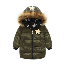 Children's clothing thickening warm down jacket long trend on both sides wearing a hooded boys girls fashion coat outwear