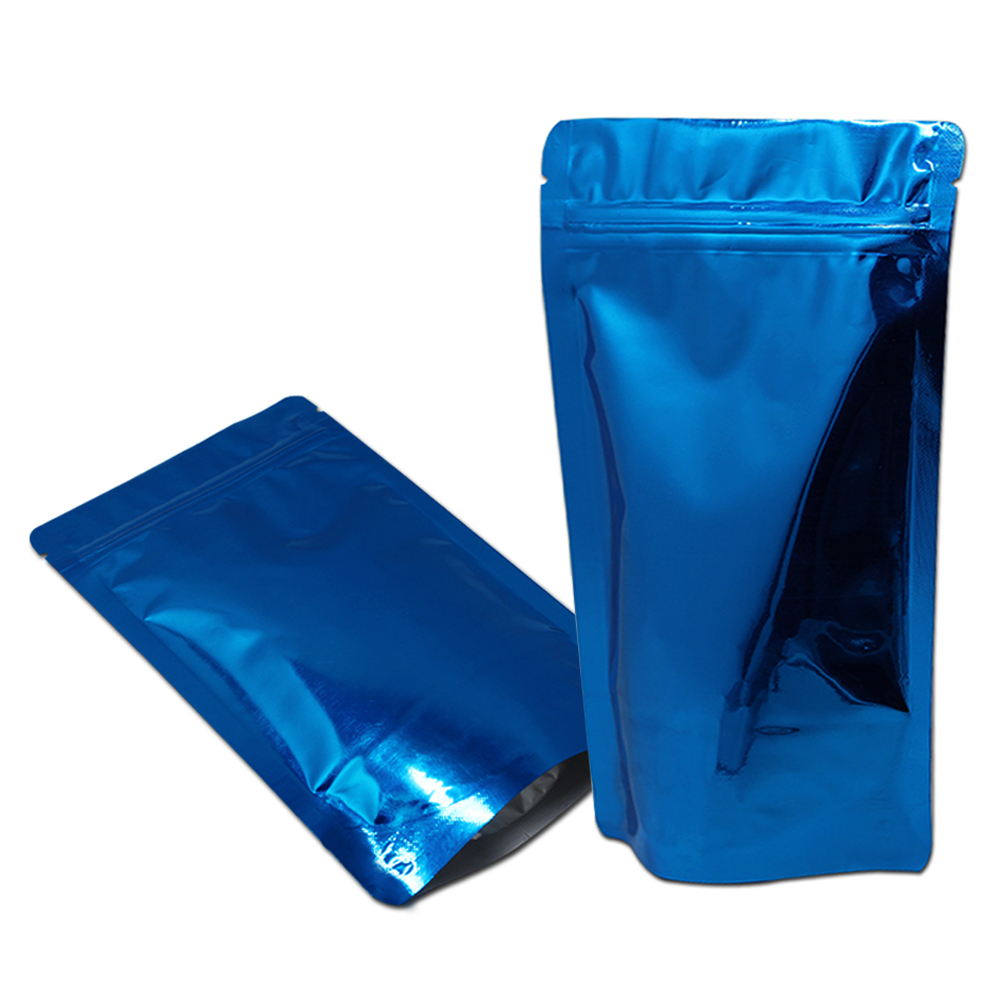 Us 15 98 6 Off 12 20cm Blue Glossy Aluminum Foil Mylar Bag Stand Up Zipper Pouch Resealable Storage Bags Zip Lock Food Coffee Doypack Packaging In