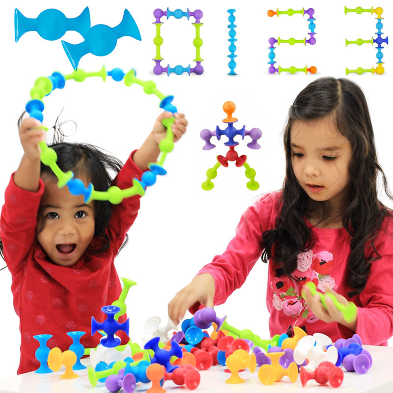 33/48/58/72 PCS Squigz Sucker Cup Toys For Children DIY Silicone  Assembled Toys Squigz Building Blocks Squigz Toys