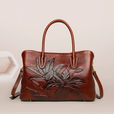 Accept private label Custom logo wholesale drop shipping genuine leather handbag retro embossed Chinese style large capacity bag