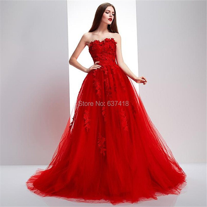 Real Image Ball Gown Puffy Red Prom Dress Evening Dress with Lace ...