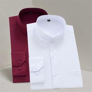 Image 5 - Chinease Stand Kraag Solid Plain Regular Fit Lange Mouwen Party Mandarijn Bussiness Formele Shirts Voor Mannen Met Borstzak