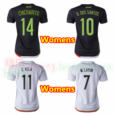 388d8064a ... Away Soccer Jersey HOT 2015 2016 Mexico Women Soccer Jersey Black 10 G  DOS SANTOS home C VELA 11 ...
