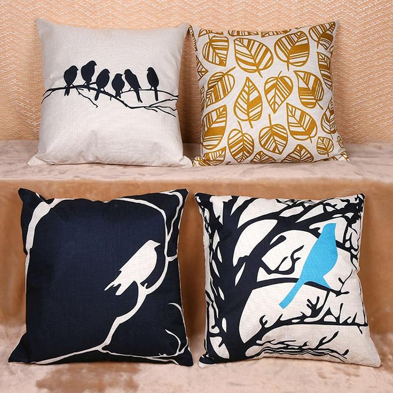 European Style Bird on the Branches Sofa Pillow Case Cushion Cover Pillow Case Throw Pillow Cover For Sofa Home Decor F