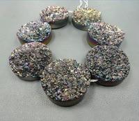 30mm Necklace Beautiful Rainbow Titanium Around Druzy Stone Quartz Bead Pendants Top Drilled Drusy Necklace Slab Bead Jewlery