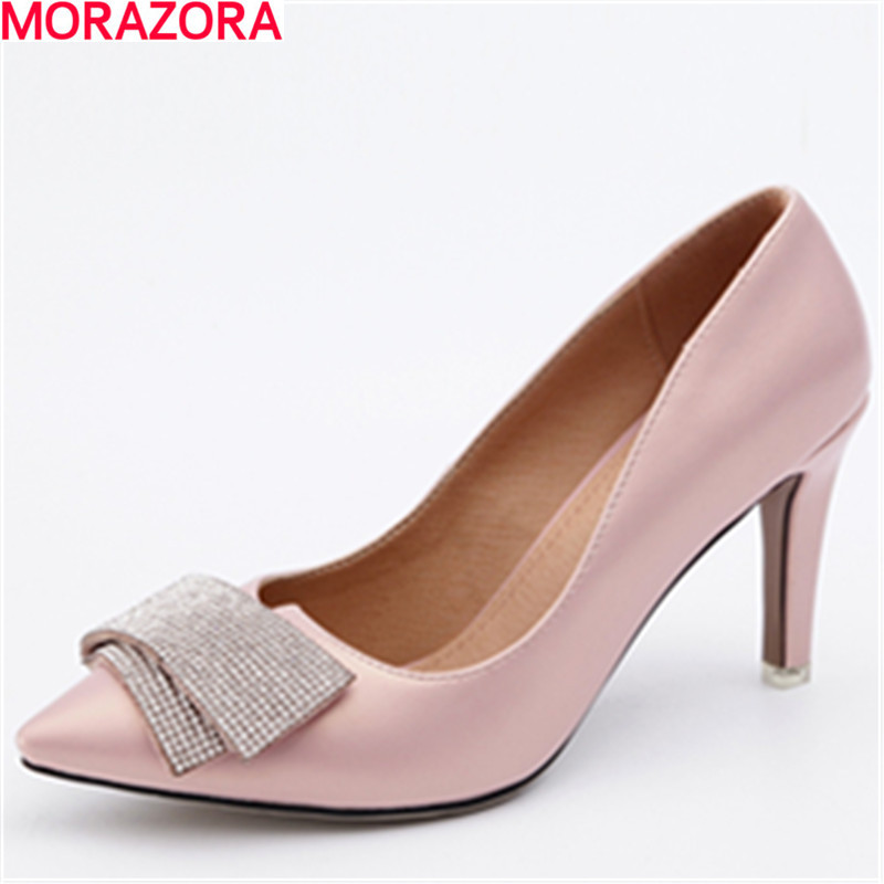 MORAZORA fashion elegant high quality pu leather women pumps stiletto high heels pointed toe party shoes woman big size 34-46