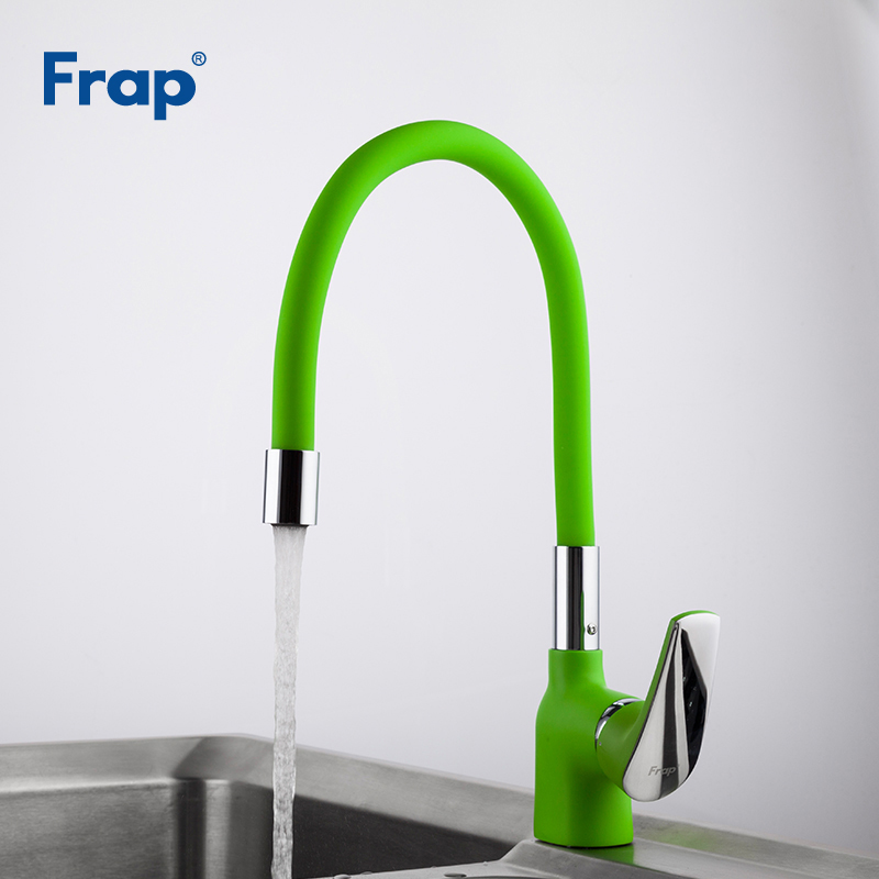 Frap Green Silica Gel Nose Flexible Direction Rotating Kitchen Faucet Cold And Hot Water Mixer Torneira Cozinha Crane F4453-05