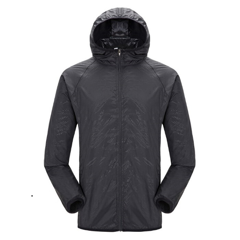 Quick-dry Unisex Windproof Hiking Jacket Light-weight Waterproof Nylon Sports Sun-protective Top Suit With Hat