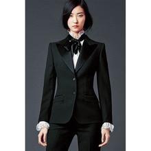 New fashion dark green womens trouser suit two button ladies office uniform elegant pant suits womens business suits CUSTOM