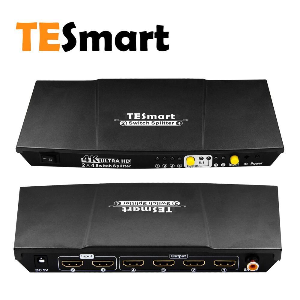 TESmartSwitch Splitter, TESmart 2 dans 4 Out 4 K X 2 K Commutateur HDMI Splitter 2x4 HDMI Sélecteur avec Extrait s/PDIF Sortie Audio