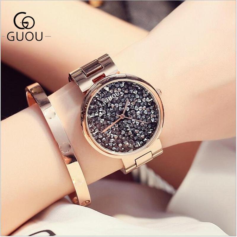 GUOU Klocka Top Lyx Exquisite Quartz Kvinnor Klockor Mode Diamond Stål Armband Kvinnor Watc Klocka Säte Relogio feminino