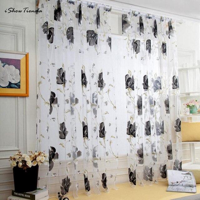 1 PZ 200 cm x 100 cm Vines Leaves Tulle per Porte E Finestre Curtain Drape Panne