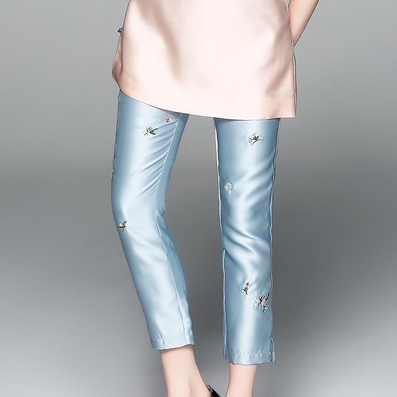 Pantalones Blanco 80831 De La Color Bordado Rectos Casual Las Capris 2018 apricot Mujeres Del Nuevo amp; Diseño Cintura Azul Cielo Mediados Longitud Tobillo Verano 1xRq0wR