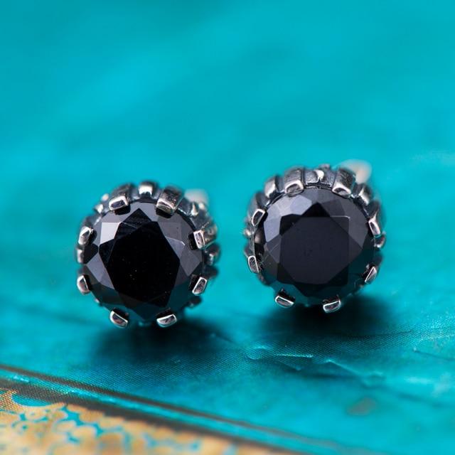 New Arrival 100 925 Sterling Silver Black Cz Stud Earrings For Women Female Men