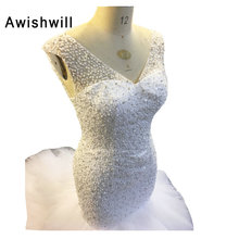 High Quality New Fashion V Neck Mermaid Wedding Dresses Lace-up Back Beadings Pearls Tulle Bridal Gown Custom Size