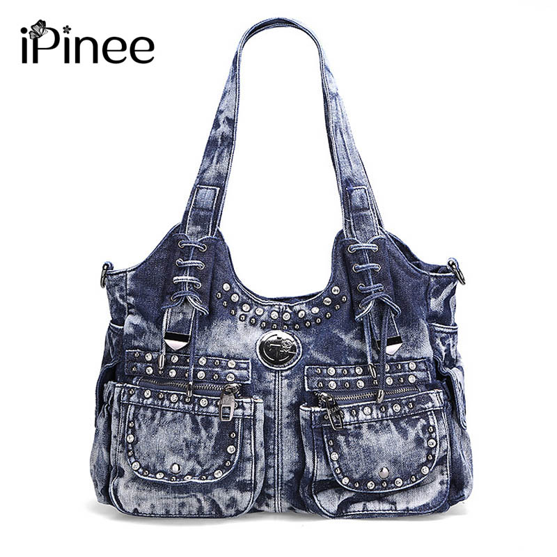 iPineeNew Design Brand Elegant Rhinestone Fashion Women Shoulder Bag Jeans Casual Ladies Denim Handbags Female Tote Bags Mochila aselnn 2017 women ripped jeans femme plus size vintage female 2017 ladies blue denim pants pencil casual brand fashion
