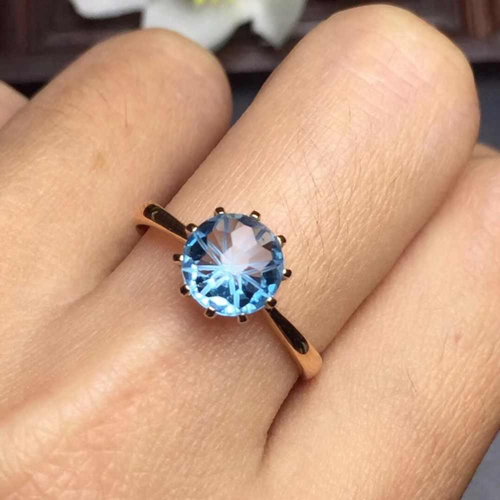 Jóias finas Personalizar O Tamanho Real 18 K Rose Gold Jóias AU750 100% Natural Topázio Azul Gemstone Anéis Amor para o Sexo Feminino anéis