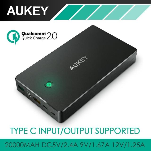 Aukey 20000 мАч Быстрая Зарядка 2.0 Быстрой Зарядки Питания Банк С Micro USB и Типа C Выход/Вход 3A Портативный Внешний Аккумулятор пакет