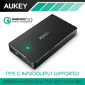Aukey 20000 mAh Carga Rápida 2.0 Carregamento Rápido Banco de Potência Com micro usb & type c saída/entrada 3a bateria externo portátil Pack