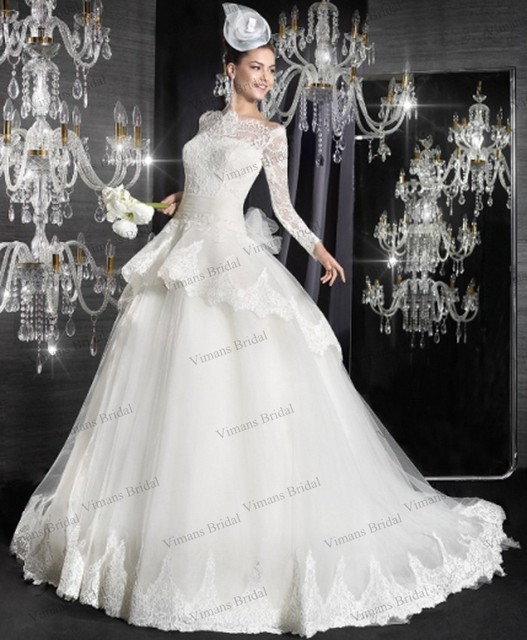 Puffy Full Sleeve Bridal Dresses Ball Gown Lace Overlay Boat Neck ...