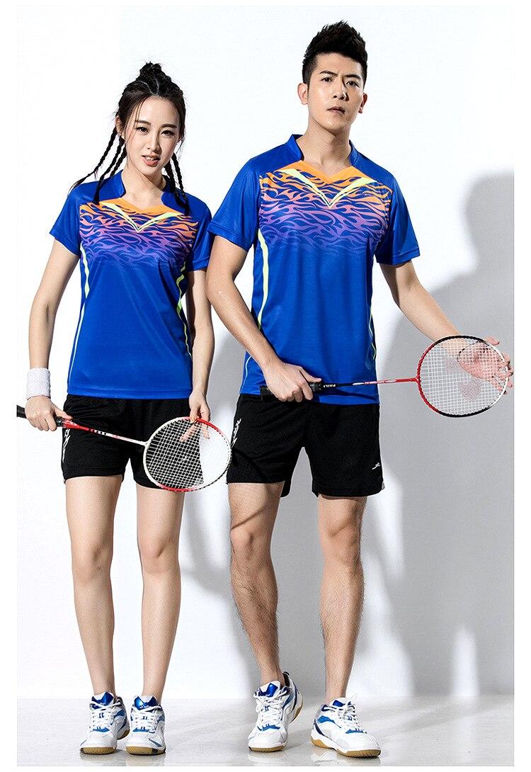 Новый теннисные рубашки Femal/мужской, бадминтон Джерси сарафаны, футболка теннис девушки, настольный теннис Костюмы, пинг-Понг шорты фиолето...