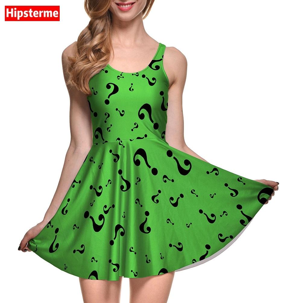 New Arrival Womens Dress Green question mark print Digital Printed Women Summer Casual Sleeveless Evening Party Slim Mini Dress