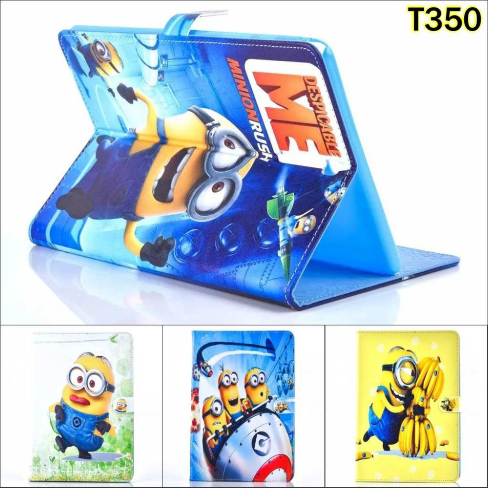 Fashion Cartoon New Despicable Me Minions Character Leather Stand Case smart Cover For Samsung Galaxy Tab A 8.0 T350 T351 T355