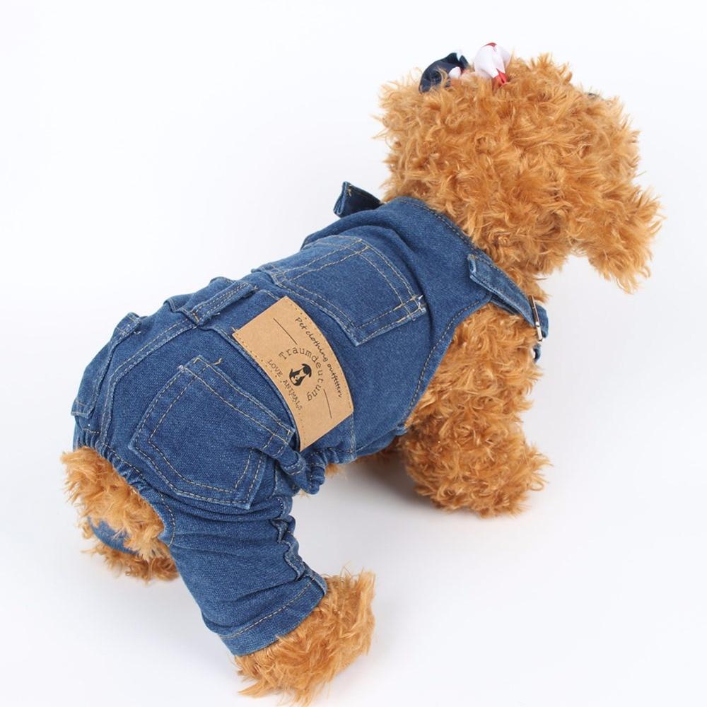 PipiFren Dogs Rroba me te gjera xhinse xhup për pantallona të gjera Pets Pantallona veshje për qen të vegjël Cats Costume Yorkshire kombinezon psa