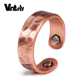 Vinterly czysta miedź pierścionki dla kobiet w stylu Vintage magnetyczny mankiet pierścionki obrączki Finger regulowany pierścionki męskie biżuteria tanie i dobre opinie Moda Wszystko kompatybilny Zaręczyny Archiwalne Zespoły weselne Invisible ustawienie Kobiety CR004 Geometryczne Miedzi
