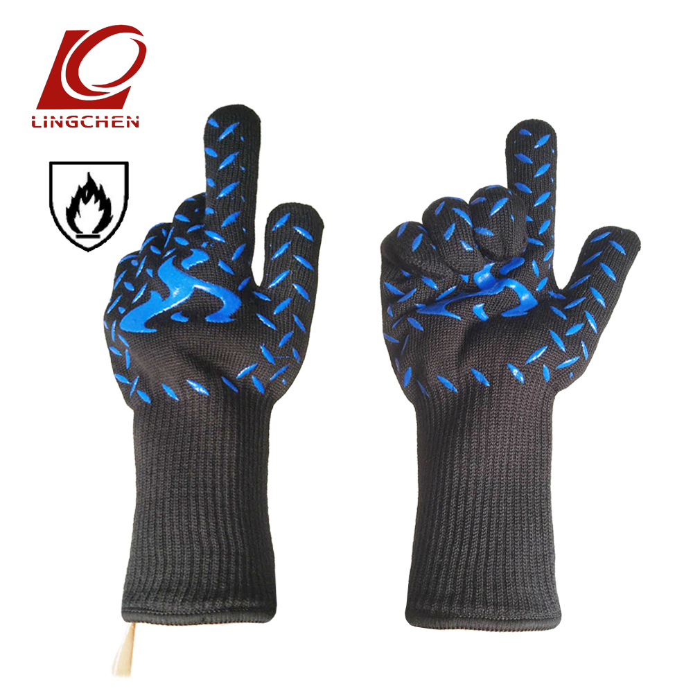 A grade aramid Heat Resistant Gloves Blue silicone Flame retardant and heat insulation Oven mitts for Outdoor Camping Kitchen nmsafety aramid fire insulation gloves with bbq heat resistant oven kitchen glove