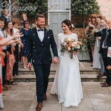Mryarce 2019 Boho Chic özel dantel rustik düğün elbisesi Illusion uzun kollu açık geri gelinlikler