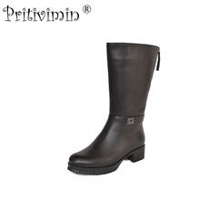 2017 female winter warm real fur lined shoe woman thick high heel long boot  Ladies genuine leather footwear Pritivimin FN62